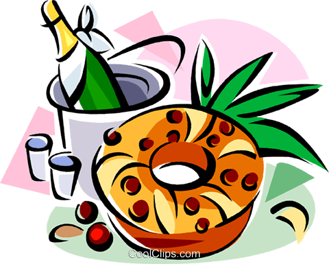 Bolo rei, Portuguese sweet bread Royalty Free Vector Clip Art illustration vc111478
