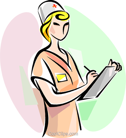 Nurse with clipboard Royalty Free Vector Clip Art illustration vc111480