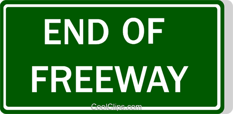 Australian road sign, End of Freeway Royalty Free Vector Clip Art illustration vc111495
