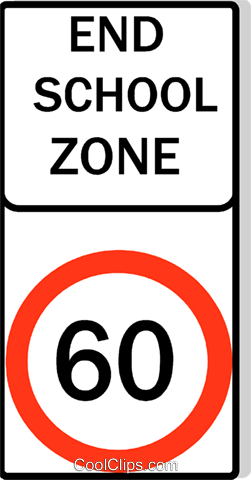 Australian road sign, End School Zone Royalty Free Vector Clip Art illustration vc111497