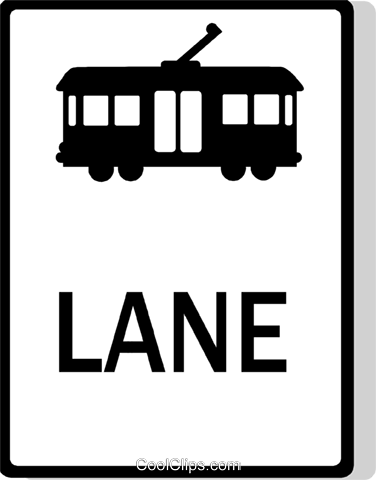 Australian road sign, Streetcar Lane Royalty Free Vector Clip Art illustration vc111501