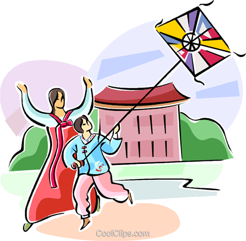 Korean kite flying Royalty Free Vector Clip Art illustration vc111514