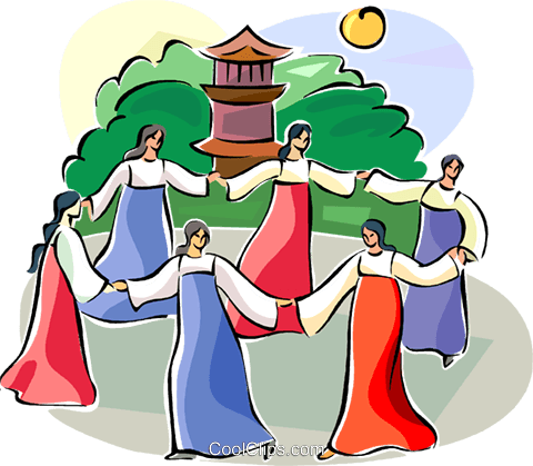 Ch'usok - Korean round dance Royalty Free Vector Clip Art illustration vc111517