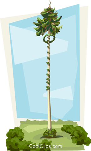 Slovenia May 1 Maypole festivities Royalty Free Vector Clip Art illustration vc111518