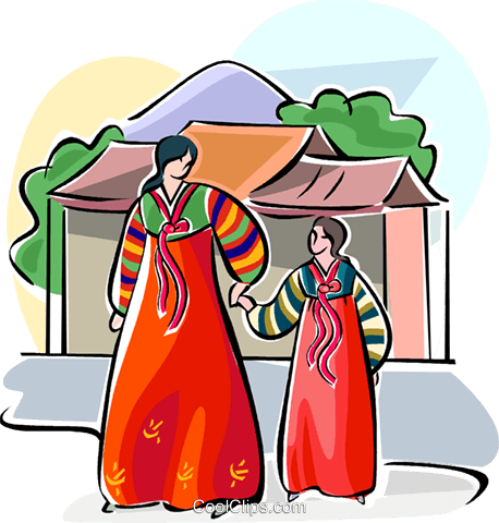 Traditional Korean costume Royalty Free Vector Clip Art illustration vc111522