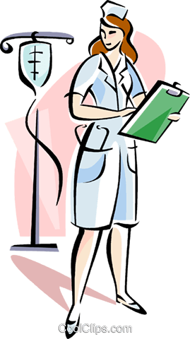 Nurse with IV Royalty Free Vector Clip Art illustration vc111523