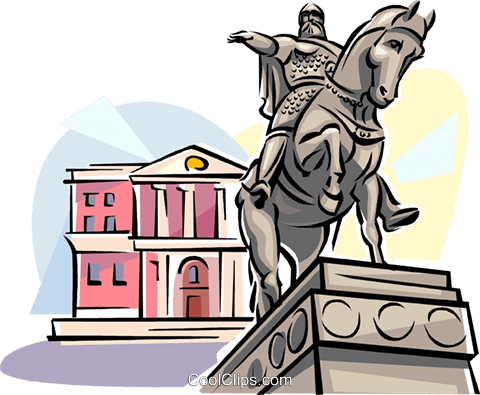 Moscow monument to Yuri Dolgoruky Royalty Free Vector Clip Art illustration vc111535
