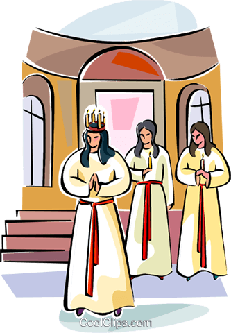 Swedish Sankta Lucia girls Royalty Free Vector Clip Art illustration vc111554