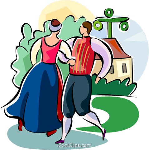 Swedish Midsummer Festival dancing Royalty Free Vector Clip Art illustration vc111555