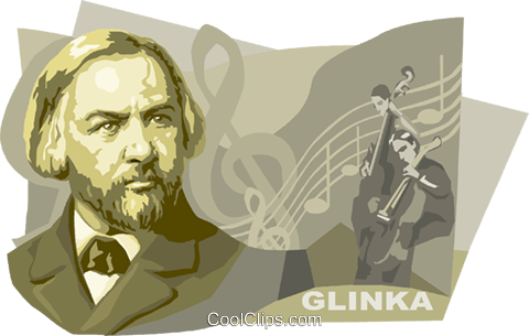 Russian Composer Mikhail Glinka Royalty Free Vector Clip Art illustration vc111559