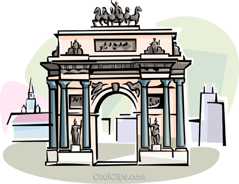Kursk Russia Triumph Arch Royalty Free Vector Clip Art illustration vc111570