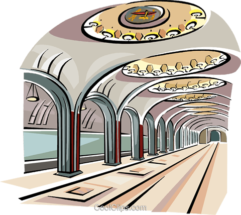 Moscow Subway - Mayakovskaya station Royalty Free Vector Clip Art illustration vc111574