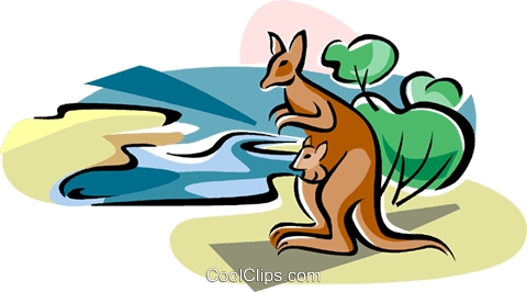Australian Lake Eyre with Kangaroo Royalty Free Vector Clip Art illustration vc111577