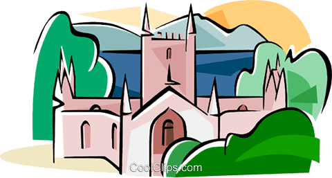 Port Arthur Convict-built cathedral Royalty Free Vector Clip Art illustration vc111586
