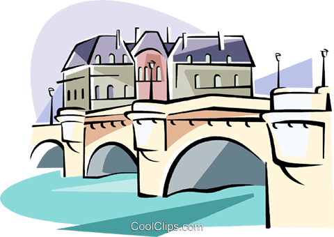 Paris Pont Neuf bridge over the Seine Royalty Free Vector Clip Art illustration vc111587