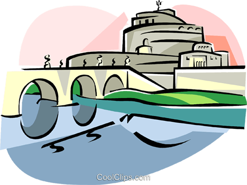 Rome Ponte Sant'Angelo Royalty Free Vector Clip Art illustration vc111588