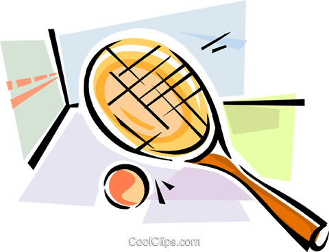 Squash racket and ball Royalty Free Vector Clip Art illustration vc111595