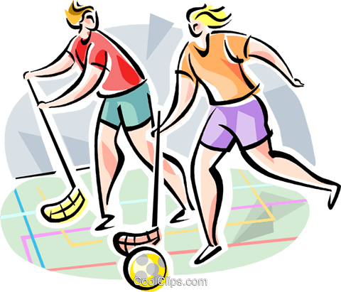 Innebandy players Royalty Free Vector Clip Art illustration vc111606