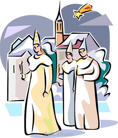 Swedish Sankta Lucia boys Royalty Free Vector Clip Art illustration vc111619