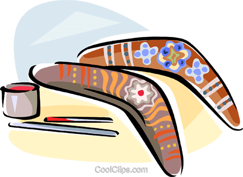 Aboriginal artwork on boomerangs Royalty Free Vector Clip Art illustration vc111631