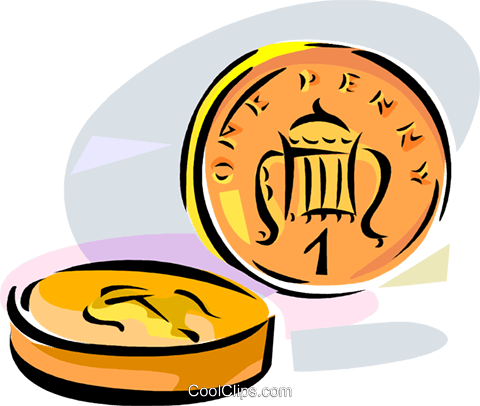 United Kingdom 1 Penny Coin Royalty Free Vector Clip Art illustration vc111632