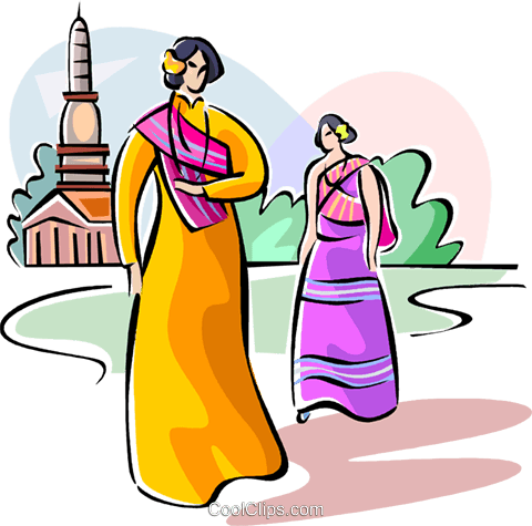 Thai people in traditional costume Royalty Free Vector Clip Art illustration vc111635