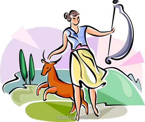 Greek Mythology Diana Royalty Free Vector Clip Art illustration vc111639