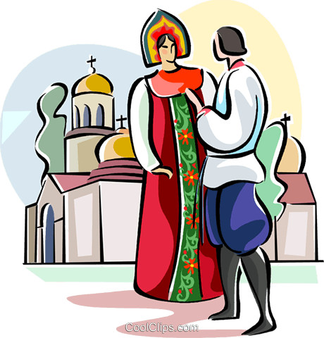 Russian national costumes Royalty Free Vector Clip Art illustration vc111647