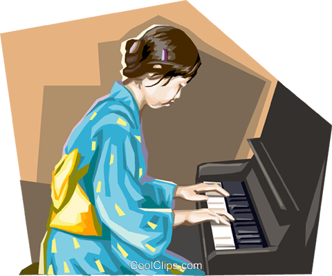 Asian child playing the piano Royalty Free Vector Clip Art illustration vc111649