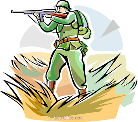 WW1 soldier with weapon Royalty Free Vector Clip Art illustration vc111656