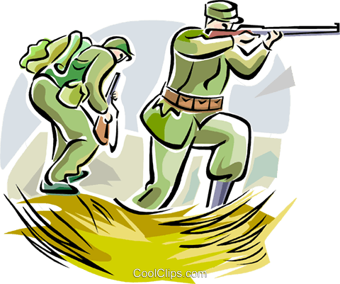 WW1 soldiers with weapons Royalty Free Vector Clip Art illustration vc111657