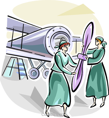 women working in WWII Royalty Free Vector Clip Art illustration vc111659