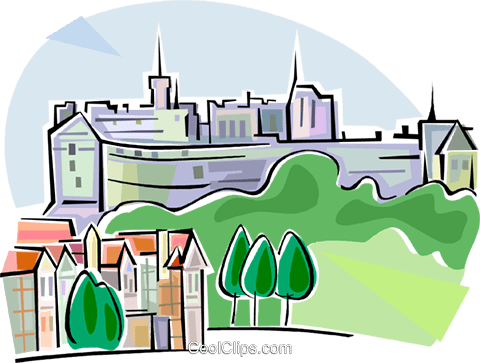 United Kingdom Edinburgh Castle Royalty Free Vector Clip Art illustration vc111665