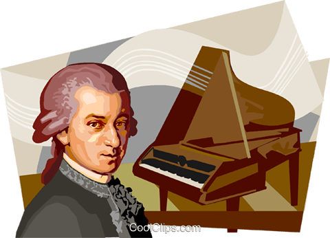 Wolfgang Amadeus Mozart Royalty Free Vector Clip Art illustration vc111705