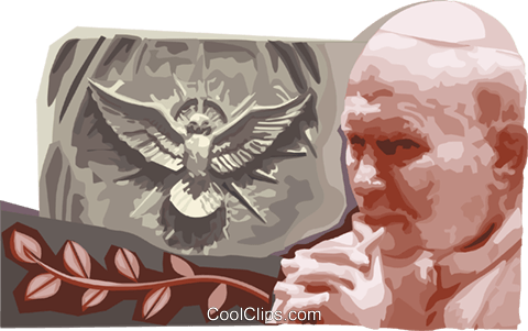 Pope  John Paul II Royalty Free Vector Clip Art illustration vc111712