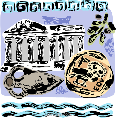 Greek Parthenon with antique vase Royalty Free Vector Clip Art illustration vc111713
