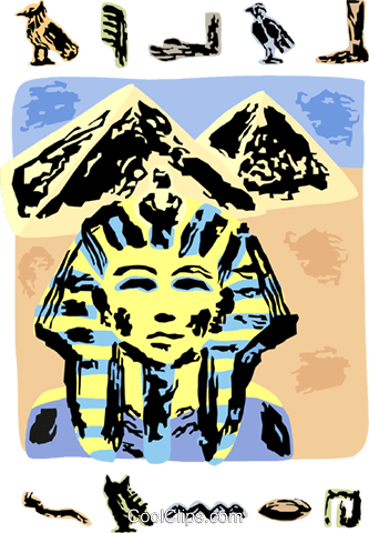 Egyptian sphinx with pyramids Royalty Free Vector Clip Art illustration vc111715