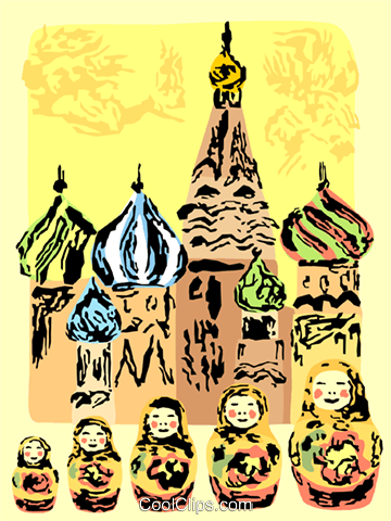 St. Basil's Cathedral and Matrioshka Doll Royalty Free Vector Clip Art illustration vc111725