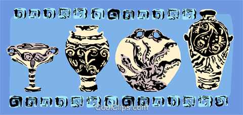 Cretian ancient pottery Royalty Free Vector Clip Art illustration vc111726