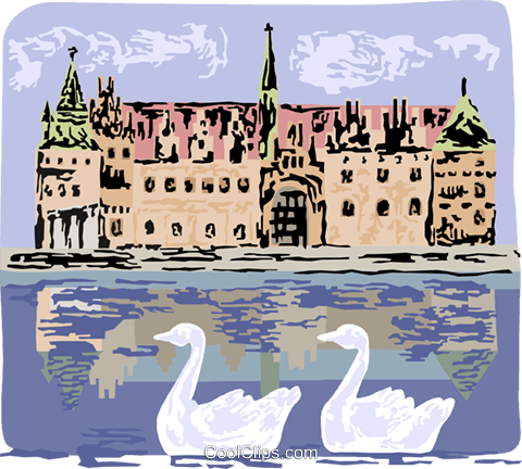 Frederiksborg Castle in Denmark Royalty Free Vector Clip Art illustration vc111731