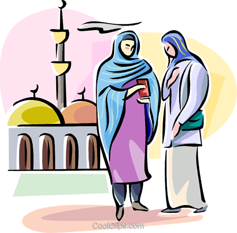 Arab women wearing hijab Royalty Free Vector Clip Art illustration vc111746