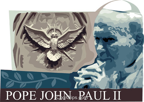 Pope John Paul II Royalty Free Vector Clip Art illustration vc111770