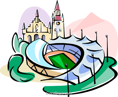 Germany Munich Olympic stadium Royalty Free Vector Clip Art illustration vc111802