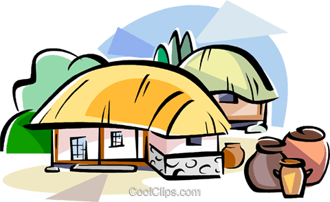 Korean Choga straw-thatched roof Royalty Free Vector Clip Art illustration vc111806