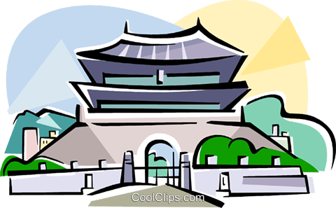 Korea The South Gate of Seoul Royalty Free Vector Clip Art illustration vc111808