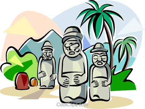Korea Harubang in Jeju island Royalty Free Vector Clip Art illustration vc111809