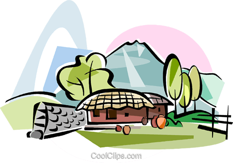Korea Choga house in Jeju island Royalty Free Vector Clip Art illustration vc111810