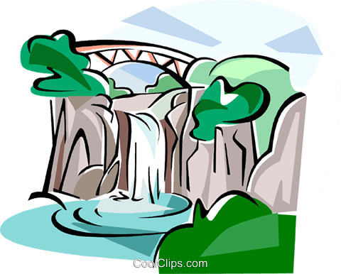 Korea Water fall in Jeju island Royalty Free Vector Clip Art illustration vc111811