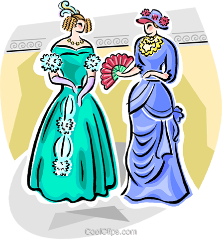 Victorian costumes Royalty Free Vector Clip Art illustration vc111824