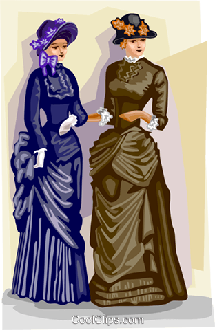Victorian costumes Royalty Free Vector Clip Art illustration vc111825